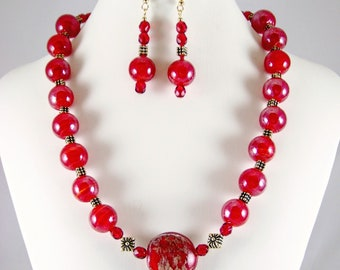 Red Dragon - fiery red glass beads with antique gold accents