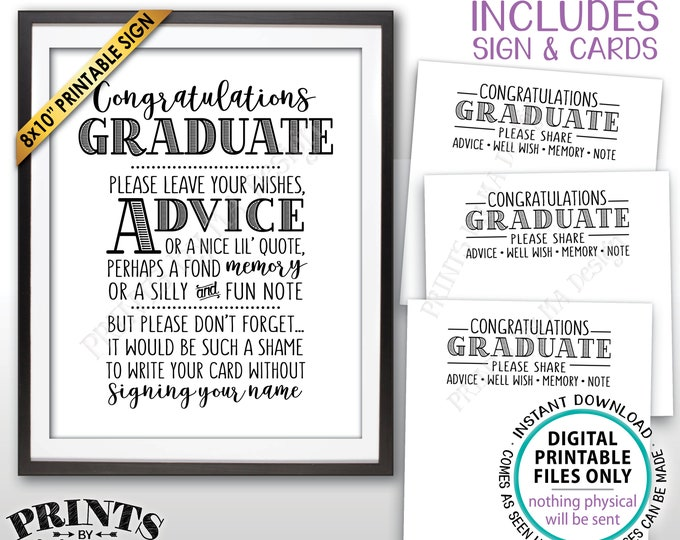 """Graduation Advice, Congratulations Graduate, Memory Advice Well Wishes, PRINTABLE Graduation Party 8x10"""" Sign & 8.5x11"""" Sheet of Cards <ID>"""