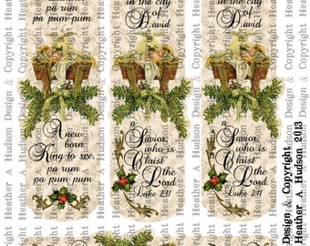 Vintage Victorian Baby Jesus Advent By Candle Light Book Mark Table Favors digital Collage Sheet Printable Clearance