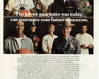 1972 Advertisement United State Air Force USAF Recruitment US America Military Job Opportunities 70's Guarantee Armed Forces Wall Art Decor