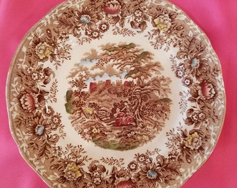 """Vintage Alfred Meakin Romance  Tonquin-brown Multicolored Pattern 10"""" Dinner Plate"""