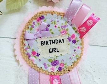 Vintage Floral Birthday Rosette, Birthday party badge, Vintage Rosette, Girls birthday party,