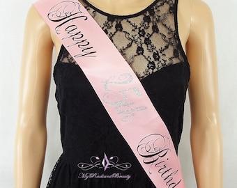 Birthday Sash, Bridal Sash, Bride To Be, Hen Party Sash, Personalized Bachelorette Sash, Wedding Sash, Sash Belt, Ribbon Sash BS0030