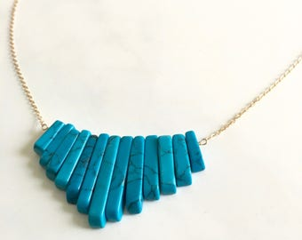 Turquoise natural energy gemstone blue 14kgf gold handmade healing  turquoise-blue necklace