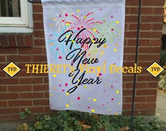 Happy New Year garden flag