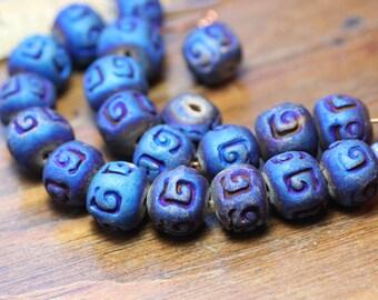 Blue Ceramic Beads Metallic Indigo Blue Clay Beads Cobalt Blue 1cm Jewelry Making