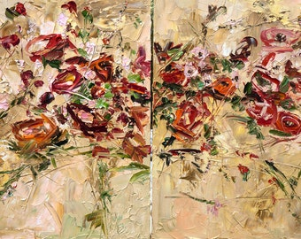 Large Canvas Diptych Palette Knife Oil Painting Flowers Peony Red Roses Landscape Wall Decor Room Wall Modern Art Impressionism Impasto Boho