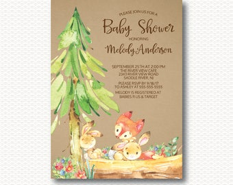 Playful Fox & Bunny Baby Shower Invitation, Cute, Kraft, Rustic, Baby Shower, Gender Neutral, Boy, Girl, Forest, Unique, Digital, Printable
