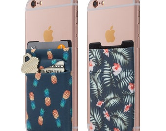 Two Stretchy Cell Phone Stick On Wallet Card Holder Phone Pocket For iPhone, Android and all smartphones. (Pineapple&Palm)