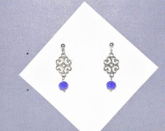 Earrings Stud Silver Filigree Blue Crystal Heart #B05a One Of A Kind