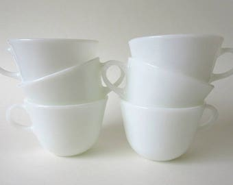 6 Pyrex Milk Glass Teacups Coffee Cups, Vintage Solid White ON SALE