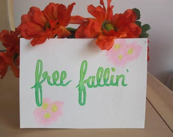 "Wall Art Decor ""Free Fallin'"" - Dorm Decor - Bedroom Decor - Cheap Gifts For Her Mom Sister Friend Aunt - Watercolor Brush Lettering"