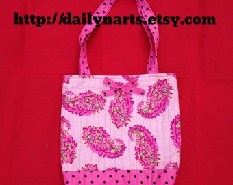 Pink Paisley Polka Dot handmade quilted tote bag with bow