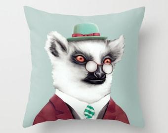 Lemur THROW PILLOW, Animal Pillow, Lemur Decor