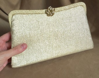 Gold Purse, Gold Vintage Clutch, Gold Evening Bag, Shiny Metallic Gold Lame Fabric Purse, with Wrist Chain, 50's 60's
