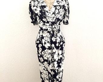 Vintage 80s Jane Singer Blue Floral Sheath Wiggle Pinup Dress