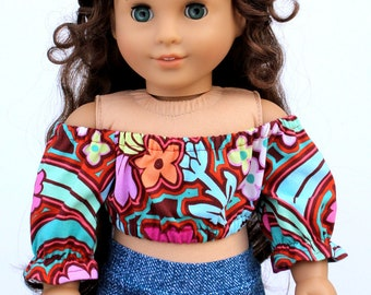 Fits like American Girl Doll Clothes - Bold Floral Cropped Peasant Top | 18 Inch Doll Clothes