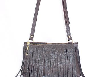 Brown Leather Crossbody - Fringe Purse - Brown Leather Boho Bag - Brown Leather Fringe & Tassel Handbag - Boho Purse