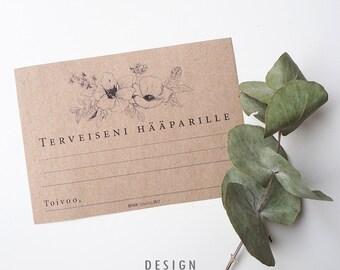 Tulosta itse Vieraskirjakortti Graphic Flowers