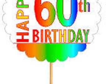 Happy 60th Birthday Rainbow Cupcake Decoration Topper Picks -12pk