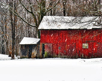 RED COUNTRY BARN, fine art photography, winter landscape, country scenes, wall art, rural scenes, nature photographs, vintage country scene
