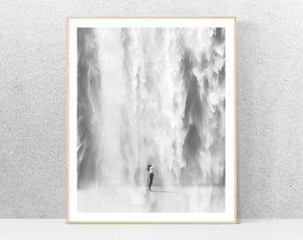 Black and white photography, printable art, waterfall, minimalist art, printable wall art, gray print, minimalist home decor, design poster