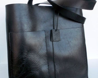 Black Leather Tote Bag -  Leather Bag - Simple Black Leather Bag-Sturdy Black Leather Tote