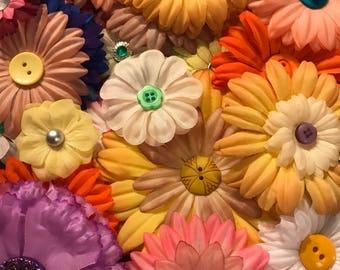 Mix Grab Bag | Fabric Flowers 10, 15, 20 | Flower Embellishments | Scrapbooking