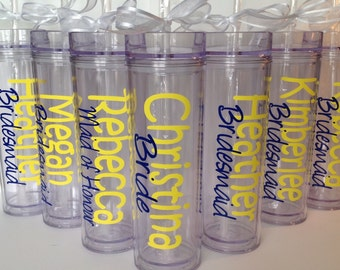 Set of 7 Personalized Wedding Bachelorette Party Skinny Tumbler Acrylic Tumbler Tall Wedding Cup