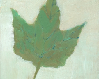 original art, small painting, affordable, one of a kind art - Soft Maple Leaf - by Irene Stapleford, wantknot shop