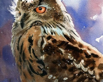 Owl Art Print of Watercolor painting of Owl - a reproduction