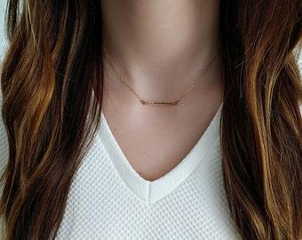 Mini Bar Necklace/ Hammered Mini Bar Necklace/ Gold Filled Mini Bar Necklace/ Sterling Silver Mini Bar Necklace/ Horizontal Bar Necklace