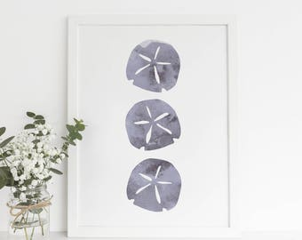 Gray wall Art Art Print, Watercolor Art Print, Coastal House Art, Beach Gallery Wall, Sand Dollar Print, Printable Home Art, Gray Watercolor