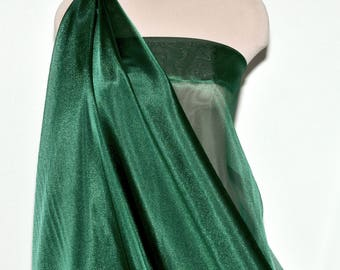 """Iridescent Organza fabric 60"""" wide.. sheer, Emerald  formal wear, bridal, pageant, crafts, costumes, home decor"""