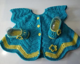 Baby poncho and ballerina slippers, turquoise and lemon yellow set, crochet, spring