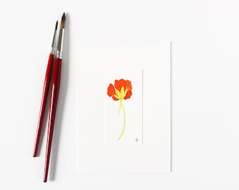 Watercolor Nasturtium Miniature Botanical Painting / Floral Fine Art Ready to Frame / Gifts for Gardeners Under 50 / 5x7 Tiny Orange Flower