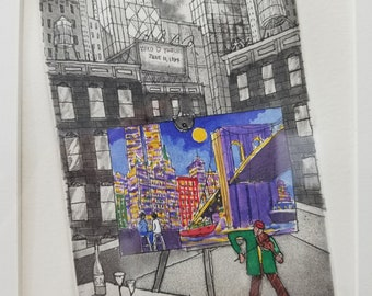 "John Dorish's Original Etching and Aquatint - ""Y and Y in New York"" - 45/63 Limited Edition"