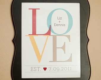 LOVE Personalized Couple Wall Print  8x10