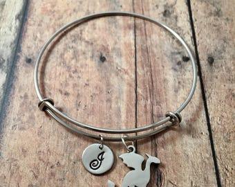 Dragon initial bangle - dragon jewelry, dragon pendant, fantasy jewelry, medieval jewelry, fairy tale bangle, silver dragon initial bracelet