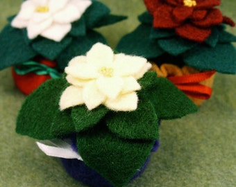 Made to order - Mini felt poinsettia Small bottlecap pincushion or ornament  free usa ship