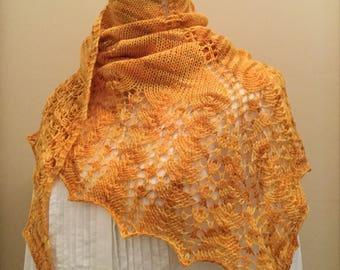 Hand knit shawl, shawlette, scarf, yellow, orange, merino wool