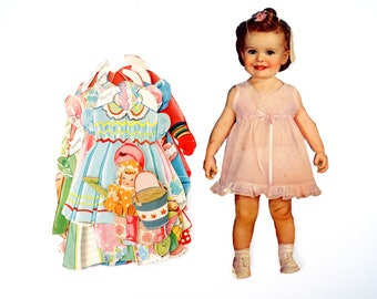 """Vintage Paper Doll Toddler """"Nancy"""" with Clothing, 25 pieces (c.1940s) - Doll Ephemera, Collectible Doll, Paper Projects"""