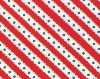 END OF BOLT - Celebration Red & White Stripes with Blue Dots by Bunny Hill for Moda - 2866-18