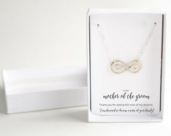 Mother of the Groom - Sterling Silver Necklace - Mother of Groom Gift from Bride - Wedding Gift for Mom, Silver Mother of the Groom Necklace