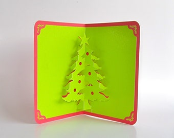 Christmas tree 3d pop up greeting card and decoration christmas tree 3d pop up greeting card home dcor handmade origamic architecture in shimmery bright neon green and red m4hsunfo