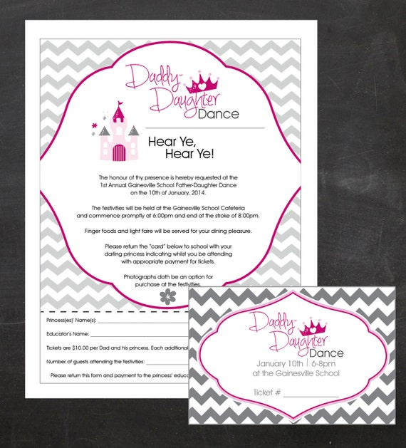 DaddyDaughter Dance Event Custom Printable Package flyer