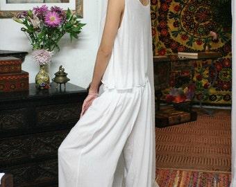 White Silk Pajamas Lounge Sleepwear Bridal Honeymoon Lingerie Wide Leg Cruise Wear