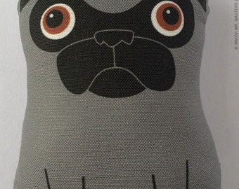 Small Dark Silver Pug Plush