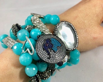 5 beaded bracelet stack with turquoise jade beads and cz and pave gunmental and silver accents