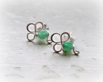 Shamrock Stud Earrings, Clover Studs, Sterling Studs, Shamrock Earrings, Aventurine Earrings, St Patrick's Day, Irish Jewelry, Green Studs